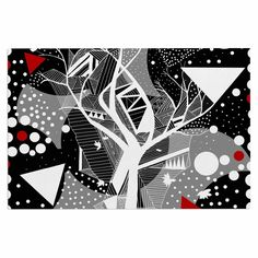 "Marianna Tankelevich ""Geometric Play"" Black Red Decorative Door Mat"