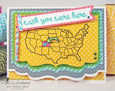 Map card created with Timeless Twine and Lawn Fawn Wish You Were Here stamp set for the cross promo with Lawn Fawn!  Studio: Timeless Twine and Lawn Fawn!