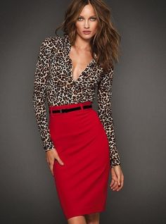 I want this chic red pencil skirt!