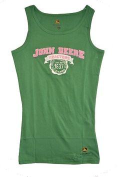 John Deere Pink and Green Women's Tank Top