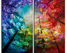 Original Landschaftsmalerei Wald Skyline Art Multi von elseart