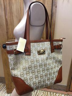 Michael Kors Signature Print Millbrook Tote Shoulder Bag Beige Luggage Brown #MichaelKors #TotesShoppers