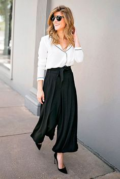 White pajama top, black high waist culottes, black sude heels, black round sunglasses - Pajama top outfits, pajama top trend, office look, office looks, office outfits, work outfits, outfits for work, black and white outfits, minimal outfits, fashion trends 2017, business woman
