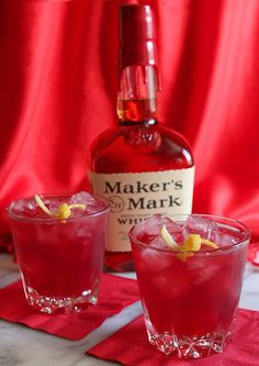 The Lady in Red:  1.5 ounce Maker's Mark bourbon 1 ounce POM Pomegranate Juice .5 ounce lemon juice Ginger Beer (chilled)