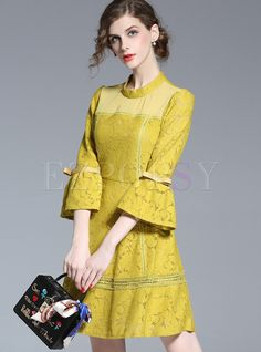 Shop for high quality Sexy Lace High Waist Pure Color Flare Sleeve Skater Dress online at cheap prices and discover fashion at Ezpopsy.com