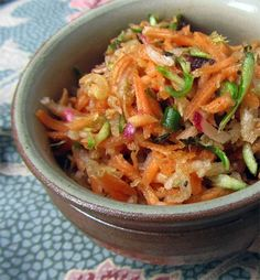 Carrot radish salad with garlic or garlic scapes.  Dressing tip: Try making the dressing with or maple syrup or honey.