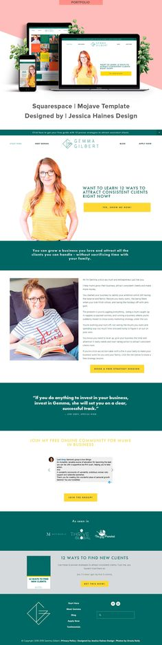 Gemma Gilbert is a business coach for mums in service-based businesses. When I first spoke with Gemma, she had DIY'd her website but wasn't in love with it and knew she needed a website revamp. She wanted something clean and simple that would help her grow her business, but didn't have the time to figure out how to get the website she wanted. Click through to see Gemma's new website and more about how it came together   www.jessicahainesdesign.com Simple Website, Grid Layouts, Professional Website, Graphic Design Projects, Design Process, Portfolio Design, How To Find Out, Branding Design, Web Design