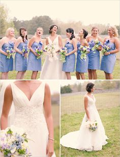 i'm probably a bit busty to pull it off.but i LOVE this neckline for a wedding dress! love the color of the bridesmaid dresses! Periwinkle Bridesmaid Dresses, Periwinkle Wedding, Blue Wedding, Wedding Gowns, Dream Wedding, Blue Bridesmaids, Periwinkle Blue, Wedding Things, Wedding Ceremony