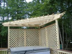 corner pergola - use a square grid instead of diamond for cleaner design and extent it another panel on each side.