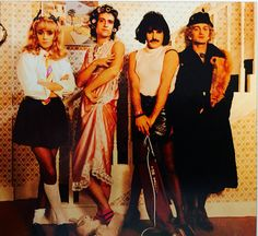 """Queen in drag for """"I Want to Break Free"""". Roger Taylor has this pretty face and really looks like a pretty girl. Nice."""