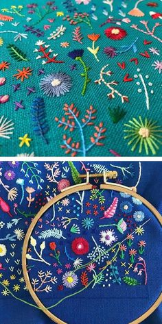 Tiny embroidery by Happy Cactus // hoop art // floral embroidery