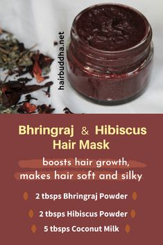 Bhringraj and Hibiscus Hair Mask – Bhringraj stimulates hair growth and hibiscus has hair softening properties. Apply bhringraj and hibiscus hair mask for soft, bouncy, gorgeous hair. Herbs For Hair Growth, New Hair Growth, Natural Hair Growth, Natural Hair Styles, Hair Growth Mask Diy, Grow Long Hair, Grow Hair, Ayurveda Hair Care, Hair Regrowth