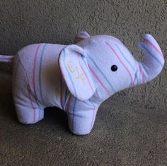 This perfect little keepsake elephant is made from a hospital blanket. www.nestlingkids.com/product/keepsake-memory-elephant-upcycled-from-your-own-fabric