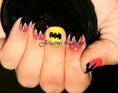 Technicolor Nails: Geek Week: Batman + Harley Quinn nails