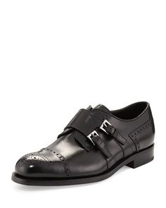 Medallion+Leather+Double+Monk+Shoe,+Black+by+Prada+at+Neiman+Marcus.