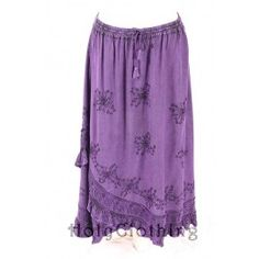 Olivia Ruffle Bohemian Embroidered Gypsy Handmade India Skirt - Skirts