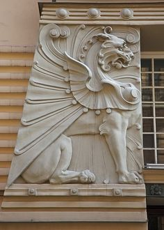 Art Nouveau Griffin (tho it also has elements of Art Deco) in Riga, Latvia.  ...  30% of the architecture in Riga is Art Nouveau, which is more than any other city.