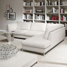 Day Italian Modern Leather Corner Sofa   Amode.co.uk