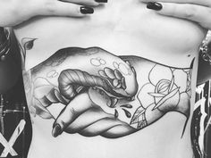girl stomach tattoo don't trust no one.