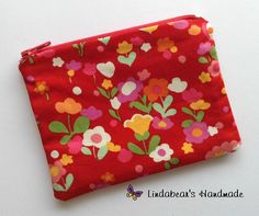 Made by Lindabears Handmade Red Floral Purse