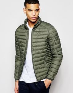 Pull&Bear+Padded+Jacket+In+Khaki