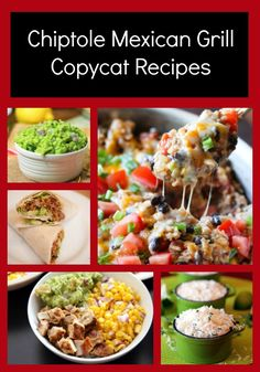 If you love eating at Chipotle Mexican Grill, then you will love these great copycat recipes. We have Chipotle chicken recipes, Chipotle guacamole recipes, and more. Chipotle Copycat Recipes, Copykat Recipes, Homemade Chipotle, Fondue Recipes, Rib Recipes, Recipies, Dinner Recipes, Dessert Recipes, Chipotle Burrito
