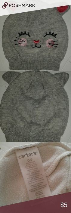 Cute kitty baby hat Fleece lined knit hat. 0-3 mths fit. Bundle discounts! Carter's Other