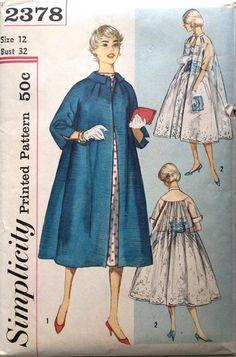 """Vintage 1950's Sewing Pattern Women's Rockabilly Kimono Swing Coat B 32"""""""