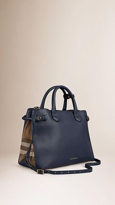 Burberry Ink Blue The Medium Banner in Leather and House Check - The Banner in smooth leather and English-woven House check cotton. Made in Italy, the bag is inspired by equestrian styles from the Burberry Heritage Archive. Discover the women's bags collection at Burberry.com