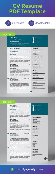 Tired of resume templates that get messy when you try to open them in MS Word? This template is an EDITABLE PDF format, enables you to input your information without having to worry about the messy design or formatting! Super easy to use!