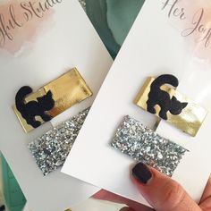 Black cat leather and silver glitter snap clip sets have been restocked with 5 more. These are ready-to-ship and if ordered today they will mail Monday. So you will receive in time for Halloween!