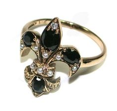 {Fleur de Lis} Vintage Victorian + Fleur de lis = a Louisiana Royal Look!  Our Fleur de Lis ring is a majestic combination of black onyx, seed pearls & diamonds.  4 oval black onyx stones create the backdrop, accented with .15 points of diamonds & finished with 8 seed pearls.