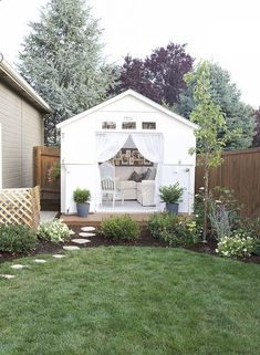 We love the She Shed trend-- cute and cozy backyard retreats made from tricked out storage sheds. This she shed has a relaxed, rustic vibe.
