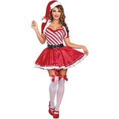 Women Striped Ruffled Dress Christmas Candy Cane Costume - ONE SIZE ($43) ❤ liked on Polyvore featuring costumes, red, ladies halloween costumes, sexy costumes, candy cane costume, elf costume and sexy christmas elf costume