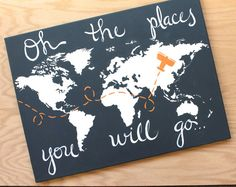 World map on canvas. oh the places you will go. 1- 18x24. custom colors, hand…