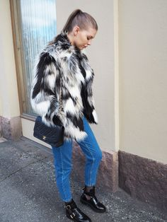 Winter outfit Outfit ideas Faux fur Chic