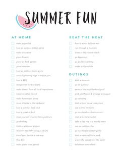Summer Fun Bucket List