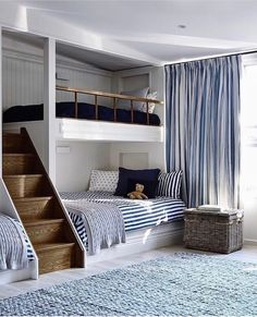 If there are kids in your family with a nautical bent, what better way to jazz up their rooms than with beach-themed bunk beds? Bunk beds don't just save space, . Read moreSpruce Up a Bedroom with these Creative Beach Bunk Beds Bunk Rooms, Boys Bunk Bed Room Ideas, Kids Beds For Boys, Boy Bedrooms, Bunk Beds Boys, Bunk Beds Built In, Shared Bedrooms, Rooms For Kids, Built In Beds For Kids