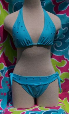 Light blue halter top with turquoise bead detail in Brazilian Swimsuit Blowout!!
