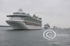 All seven of P and O cruise ships line up in Southampton, Hampshire, UK to mark the 175th anniversary of the company