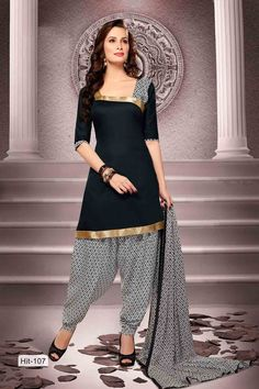 Black Cotton Salwar Kameez with Printed and Lace Work