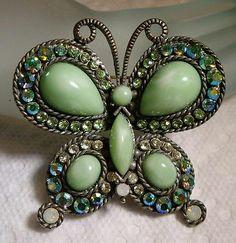 Sweet Gun Metal Lucite Cabochon Aurora Borealis Rhinestone Butterfly Brooch   eBay