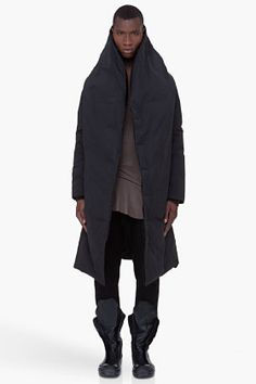 0409cdf3c94d RICK OWENS Long Black Padded Wotan Coat All Black Everything