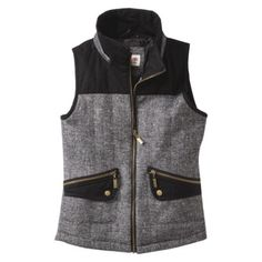 Mossimo Supply Co. Junior's Vest w/ Fur Collar -Black/White $35