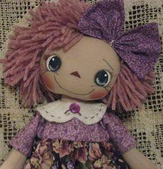 Primitive Raggedy Ann Purple Annie by BrendiDolls on Etsy