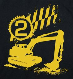 2nd construction birthday Happy boys second Party digger Toddler on Black Short Sleeve tshirt 1st, 2nd, 3rd, 4th, 5th. $12.95, via Etsy.