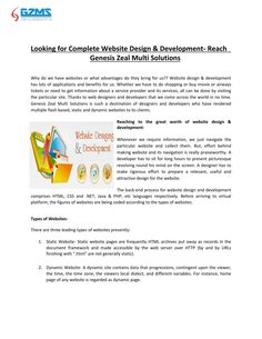Looking for Complete Website Design & Development- Reach  Genesi  Reputed and reliable Website design & development In India.