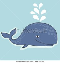 Cute vector whale. Vector illustration of a lovely cartoon whale.