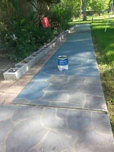 Painted Flagstones on Concrete, Stepping Stones