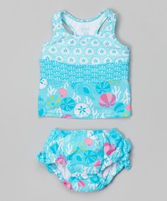 This i play Aqua Shell Garden Tankini Top & Swim Diaper - Infant & Toddler by i play is perfect! #zulilyfinds